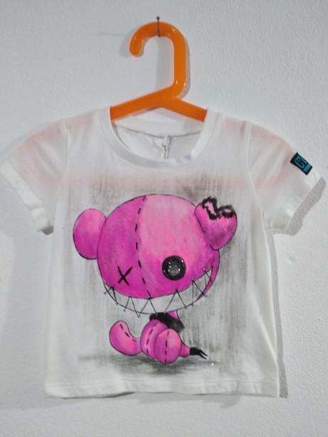 Pupazzo occhio bottone t-shirt  dipinta