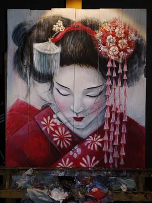Geisha_Acrilico su legno_cm 40x60_A