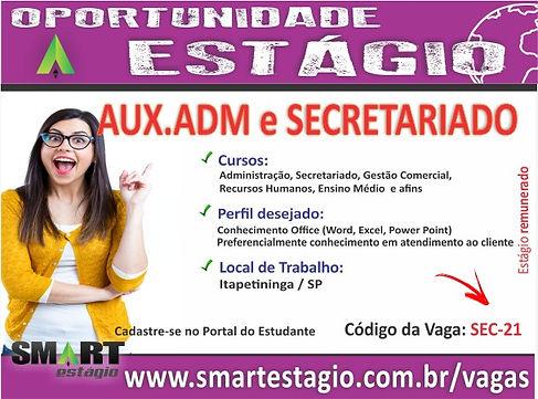 Vaga de Estágio, Auxiliar Administrativo e Secretariado