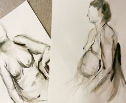 teaching a class: life drawing with ink