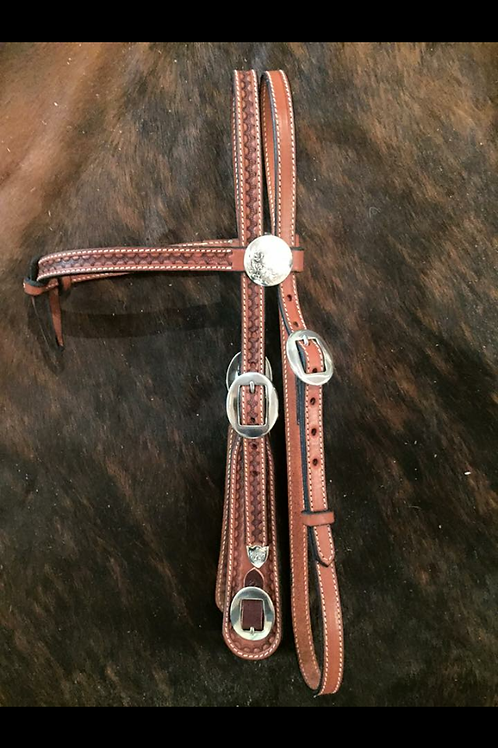 Bridle - brow, stitched & tooled