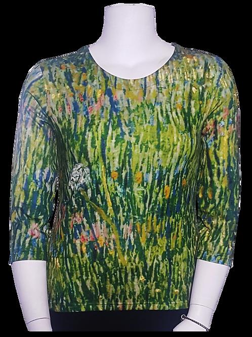 Patch of Grass by Van Gogh 3/4 Sleeve Art Shirt