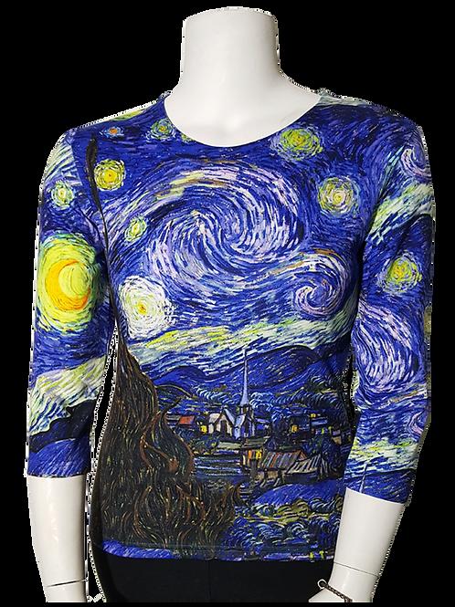 Starry Starry Night by Van Gogh 3/4 Sleeve Art Shirt