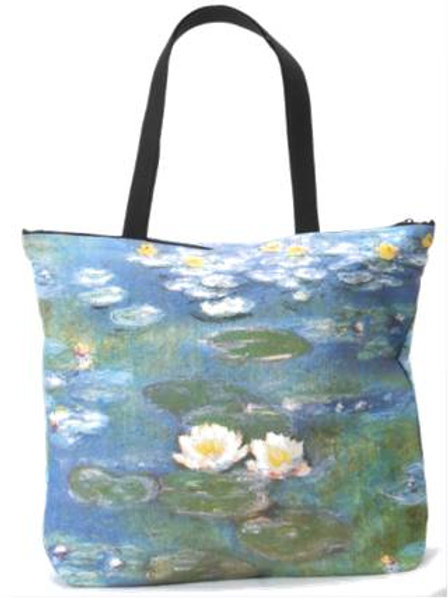 Water Lillies 2 Rose Canvas Tote