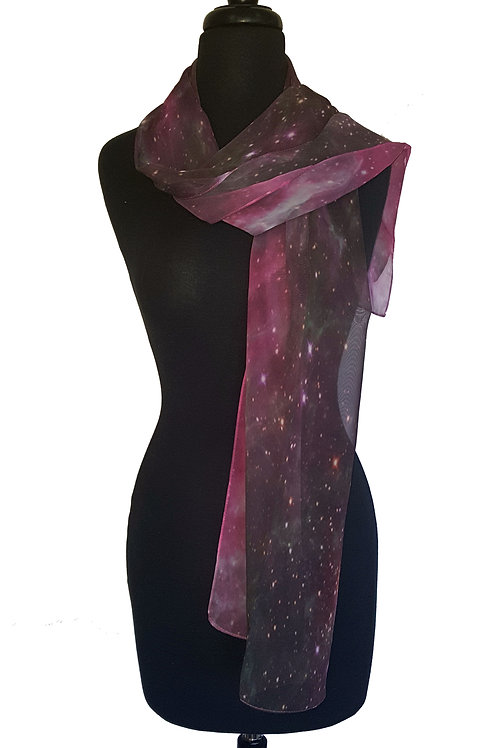 Purple  Variation Hubble Image Chiffon Scarf