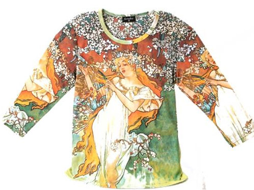 Spring by Mucha 3/4 Sleeve Art Shirt