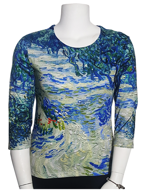 Olive Grove by Van Gogh 3/4 Sleeve Art Shirt