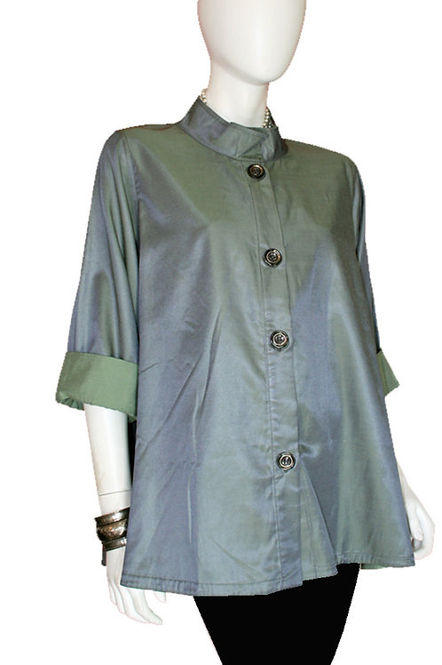 Light Sage to Moss Green Reversible Iridescent Swing Top