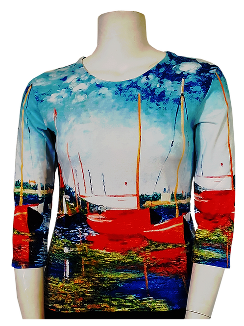 Red Boats by Monet 3/4 Sleeve Art Shirt
