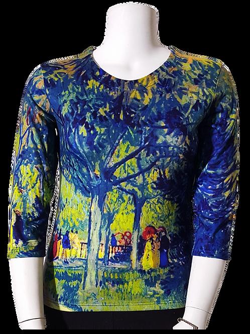Alee in the Park by Van Gogh 3/4 Sleeve Art Shirt