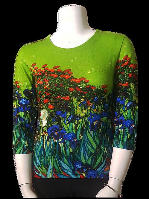 Iris by Van Gogh 3/4 Sleeve Art Shirt