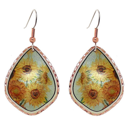 Van Gogh Sunflower Teardrop Earrings