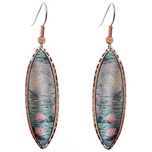 Monet Water Lilies Long Earrings
