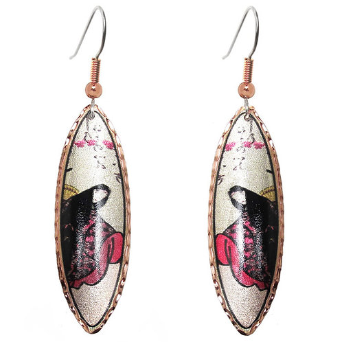 Japanese Woodblock Print Long Earrings
