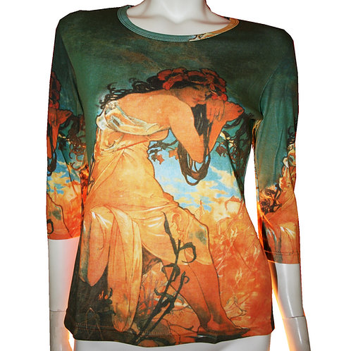 Summer by Mucha 3/4 Sleeve Art Shirt