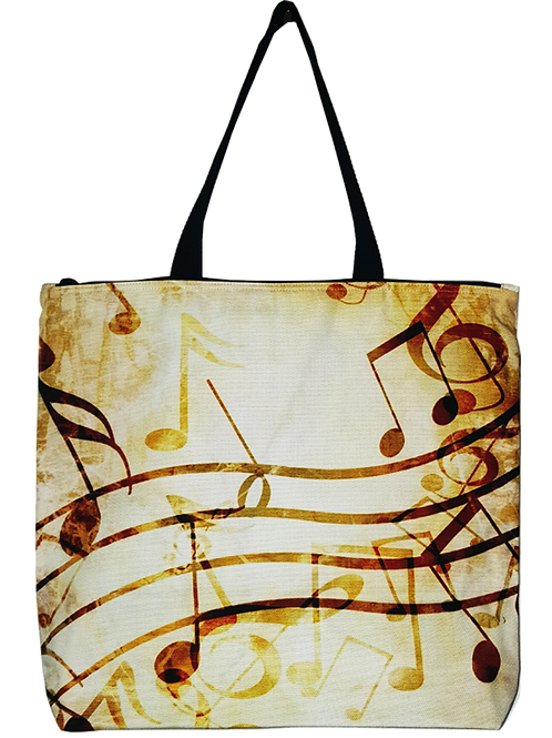 Music Notes Canvas Tote