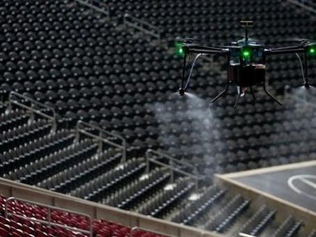 Drony pomogą w dezynfekcji stadionu