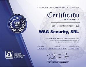 Certificados socio activo WSG Security S