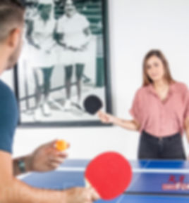 table tennis set: paddles and balls in a storage case