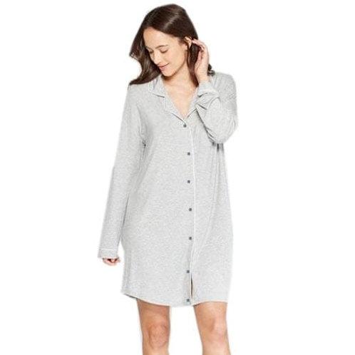 Hannah Grace Long Sleeve Button Down Cotton Knit Sleep Shirt