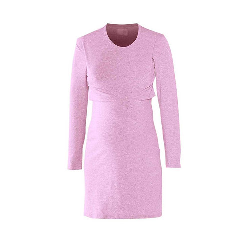 Long sleeve Pink breast feeding nightie
