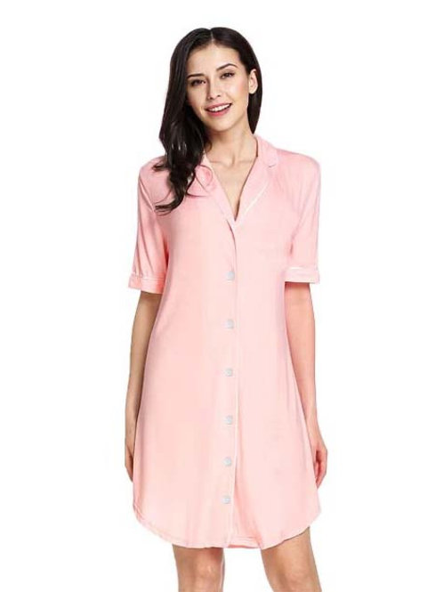 Hannah Grace short sleeve button down nightie -Pink