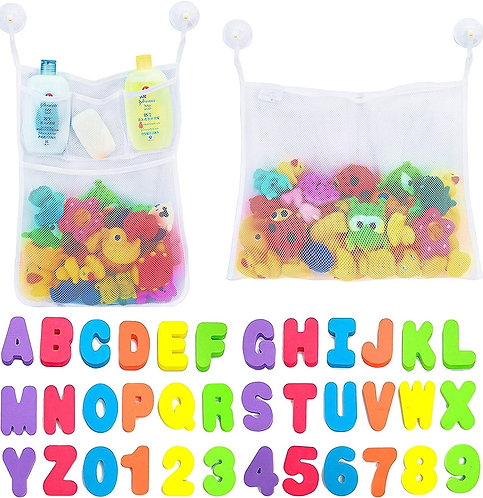 2 x Mesh Bath Toy Organizer + 6 Ultra Strong Hooks + 36 Bath Letters & Numbers –