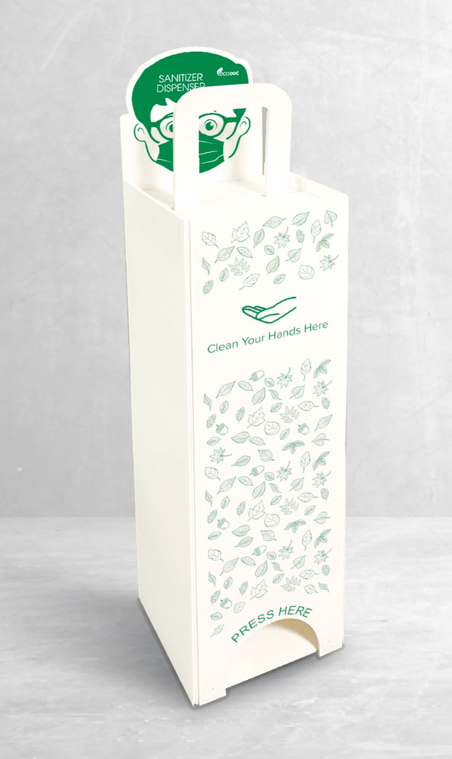 EcoDoc™ - Our proprietary foot operated handsfree sanitizer dispenser