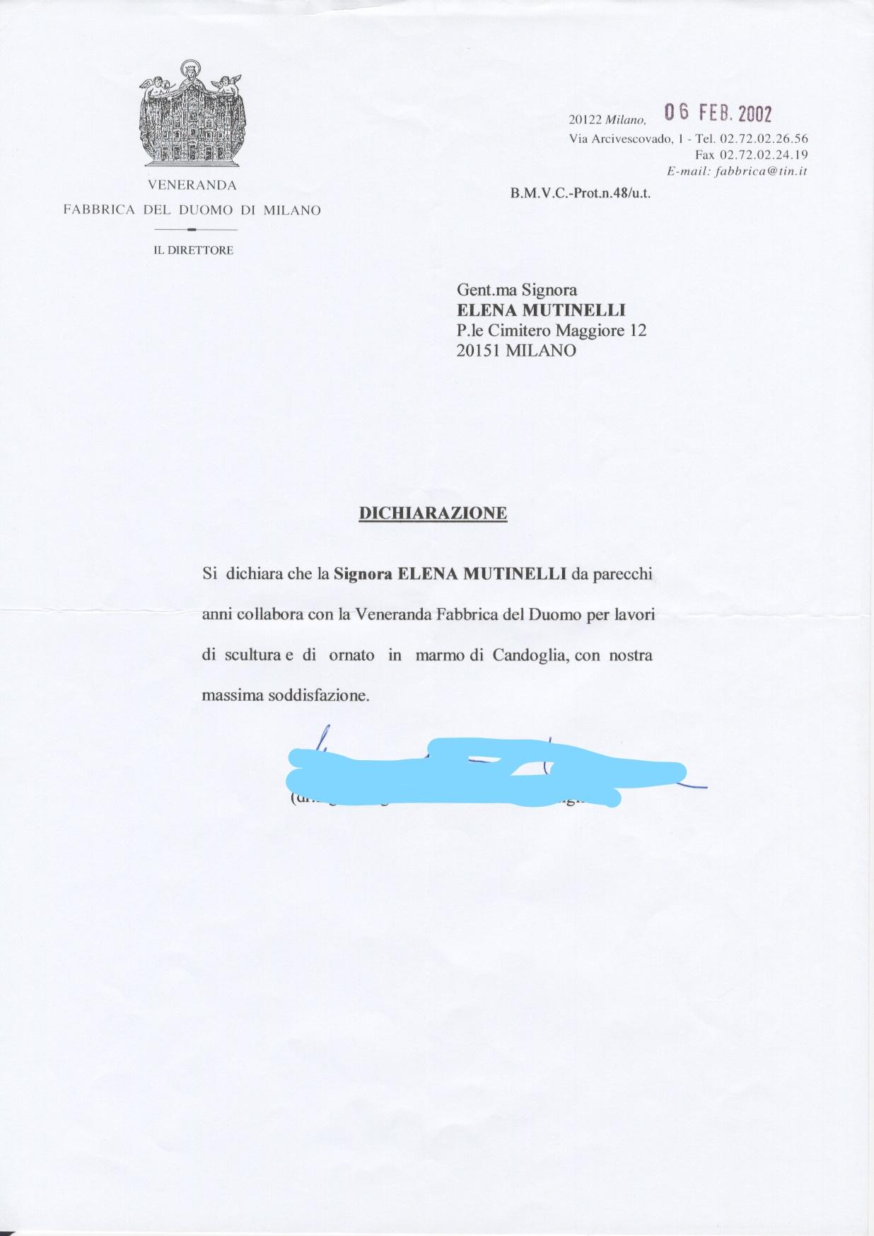 DICHIARAZIONE DUOMO MILANO