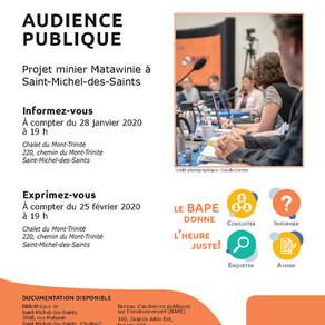 Audience publique - Projet minier St-Michel-des-Saints (BAPE)