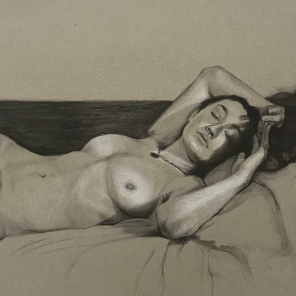 18in x 24in Charcoal and white chalk on toned paper