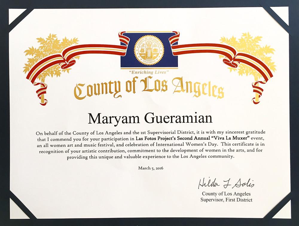 Maryam Gueramian Los Angeles County Artist Award Certificate