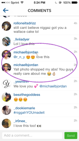 Michael B Jordan comments on a GDC cake image!