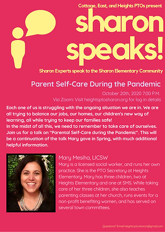 Sharon Speaks Parent Self-Care During th