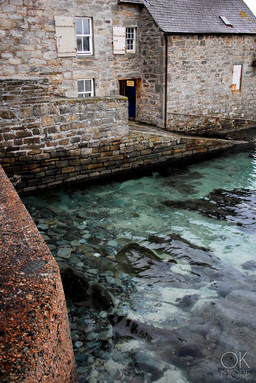 Travel photography destination Shetland island, Scotland houses sea architecture stones lerwick