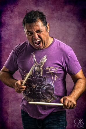 Musician photography. Portrait of a drummer, Aurelio Janeiro