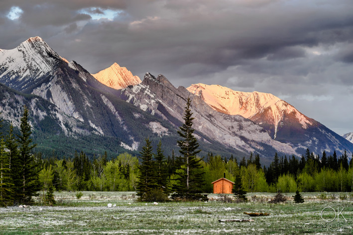 Travel photography, destination Canada Rockies mountains at sunset