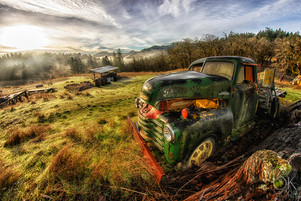 Travel photography destination California: abandoned truck in humboldt hills at sunrise