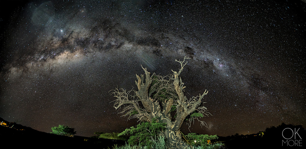 Night photography: Milky way starry sky desert atacama chile