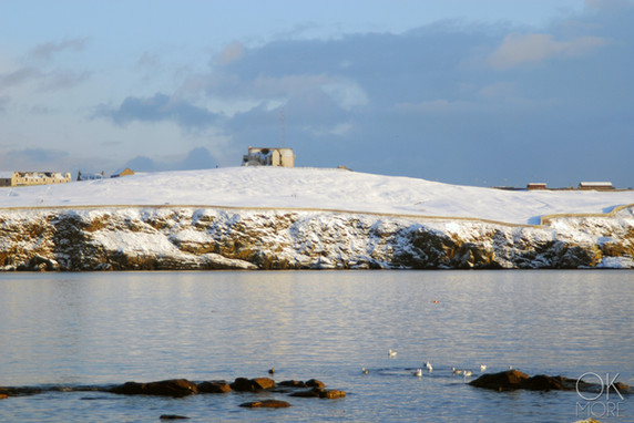 Travel photography destination Shetland island, Scotland town coast sea snow winter