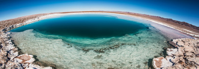 Landscape photography, salt lagoons in salt flats of Atacama desert, Chile.