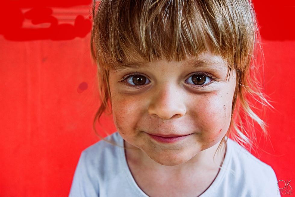 Children portrait, girl in red