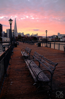Travel photography destination California: san francisco landscape downtown bay area pier at sunset, skyline