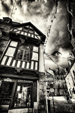 Travel photography destination France: Bretagne auray morbihan town architecture house black and white