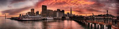 Travel photography destination California: san francisco landscape downtown skyline bay area pier at sunset,