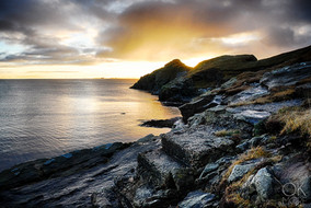 Travel photography destination Shetland island, Scotland sunset cliffs lerwick coast