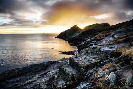 Travel photography destination Shetland island, Scotland sunset cliffs lerwick coast