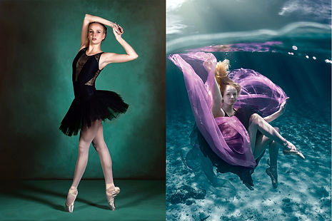two images of a ballet dancer wearing black. one posing in a studio on blue background, the otheer underwater with pink fabric