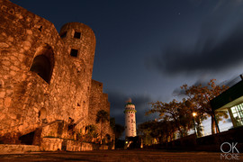 Street photography: night shot of lighthouse in Cozumel, Mexico