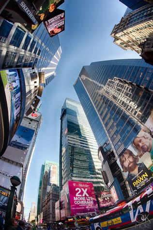 Travel photography destination New York: broadway street skyscrapers buildings